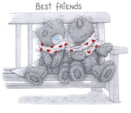 Мишка Тедди на скамейке Best friends