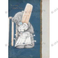 Dad Playing Cricket Me to You Bear Card