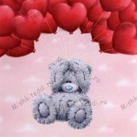 Bear With Heart Balloons Me to You Bear Card - Bear With Heart Balloons Me to You Bear Card
