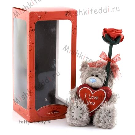 Мишка Тедди Me to You с розой - Me To You Tatty Teddy With Rose In Gift Box G01W0504 21 Me To You Tatty Teddy With Rose In Gift Box