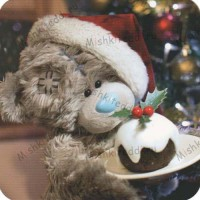 Tatty with Christmas Pudding Me to You Bear Christmas Card