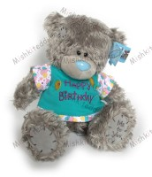 Мишка Тедди Me to you 25 см - в голубой футболке Happy Birthday - ME TO YOU TATTY TEDDY 02_G01W1051 141