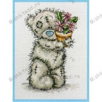 Pink Flower Pot Me to You Bear Small Cross Stitch Kit